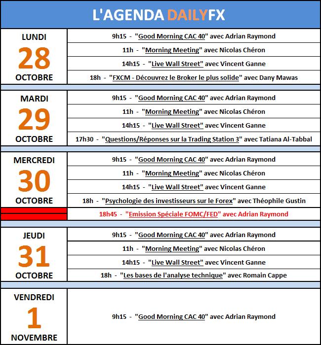 Programme des émissions en Live DailyFX du 28 au 1er novembre
