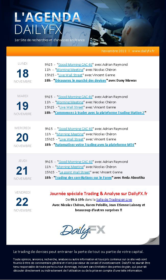 Programme des émissions en Live DailyFX du 18 au 22 novembre