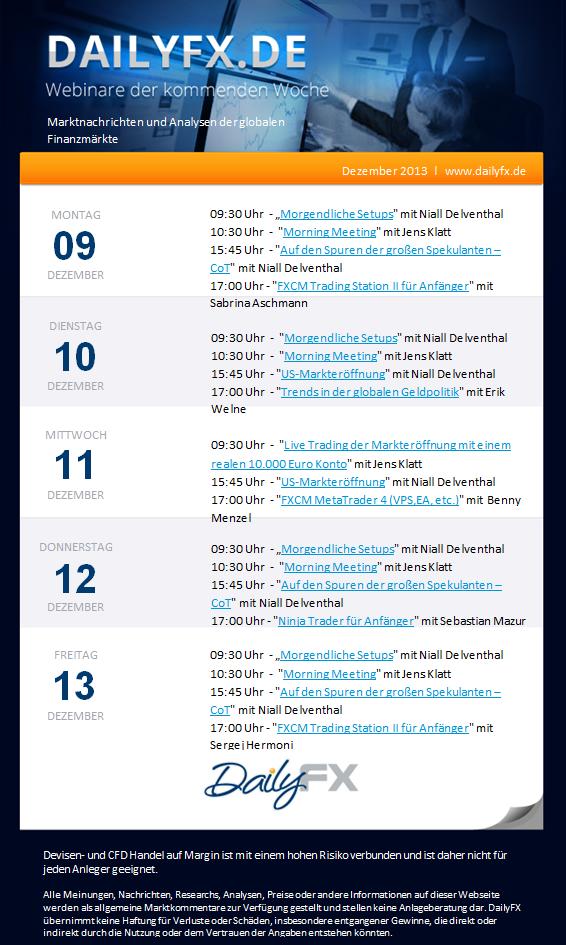 Webinare der Woche vom 09. - 13. Dez. 2013