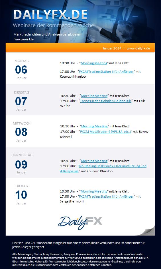 Die DailyFX Webinare vom 06. - 10. Januar 2014
