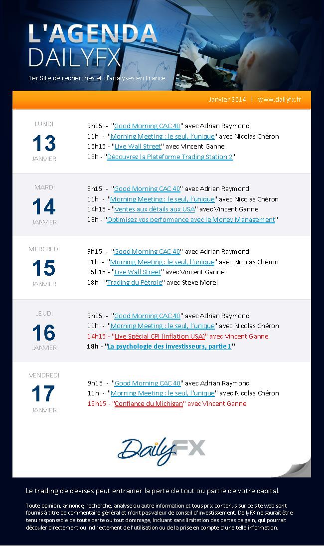 Agenda DailyFX du 13 au 17 janvier