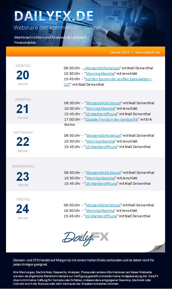 DailyFX Live Webinare der kommenden Woche