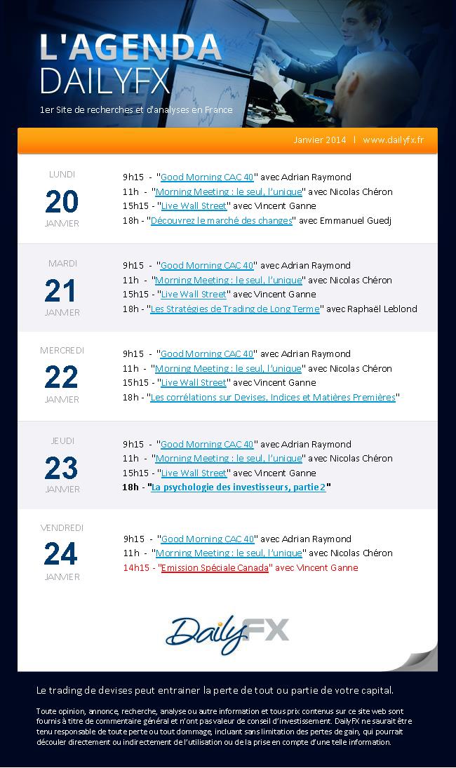 Agenda des Lives DailyFX du 20 au 24 janvier