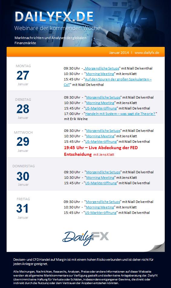 DailyFX Webinare dieser Woche (27.-31.01.)