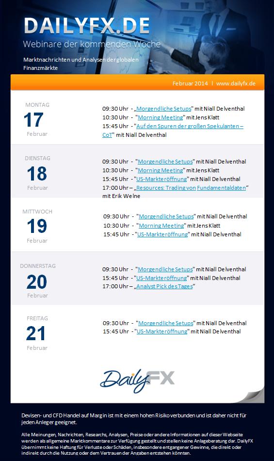 DailyFX Webinare der Woche vom 17.-21. Februar