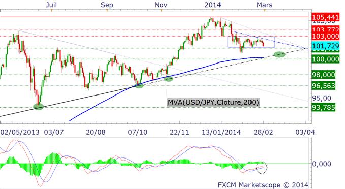 paires_en_yen_usdjpy_analyse_technique_28022014_body_USDJPY.png, Où va le Yen en mars 2014 ? Il pourrait rester fort...