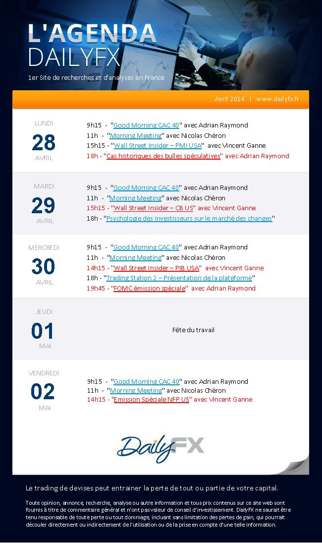 Agenda des webinaires DailyFX du 28 avril au 02 mai