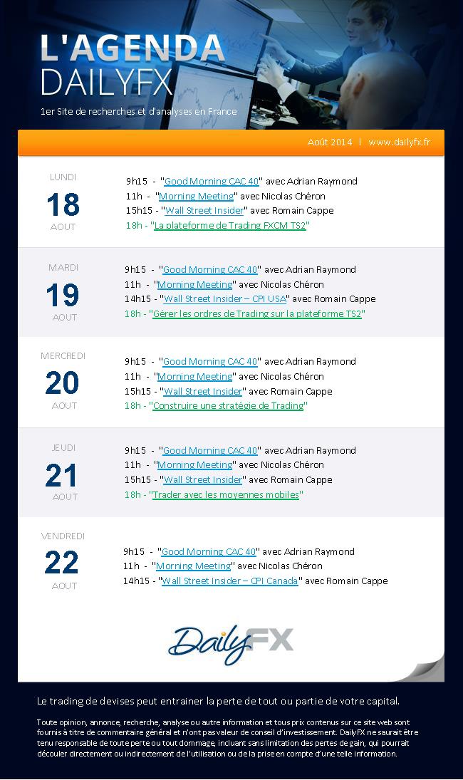 Agenda des webinaires DailyFX du 18 au 22 août 2014