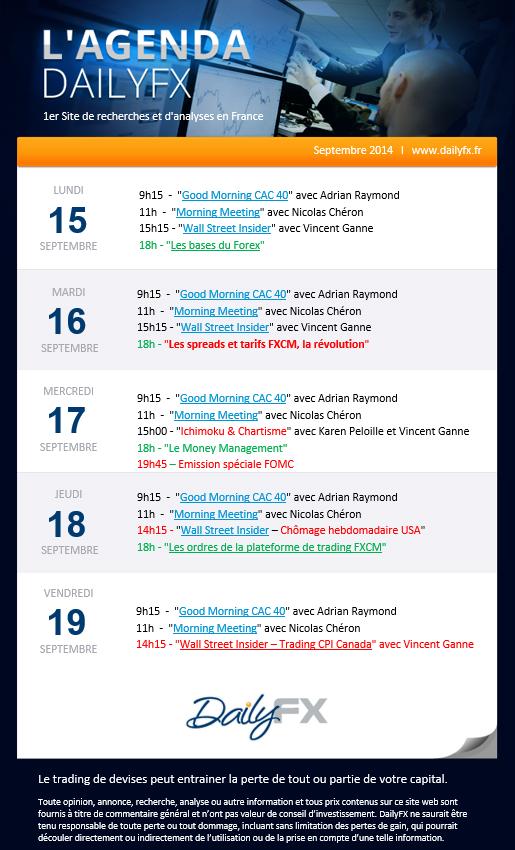 Agenda des webinaires DailyFX du 15 septembre au 19 septembre
