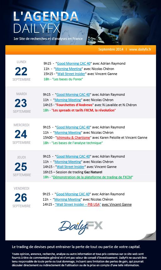 Agenda des webinaires DailyFX du 22 au 26  septembre