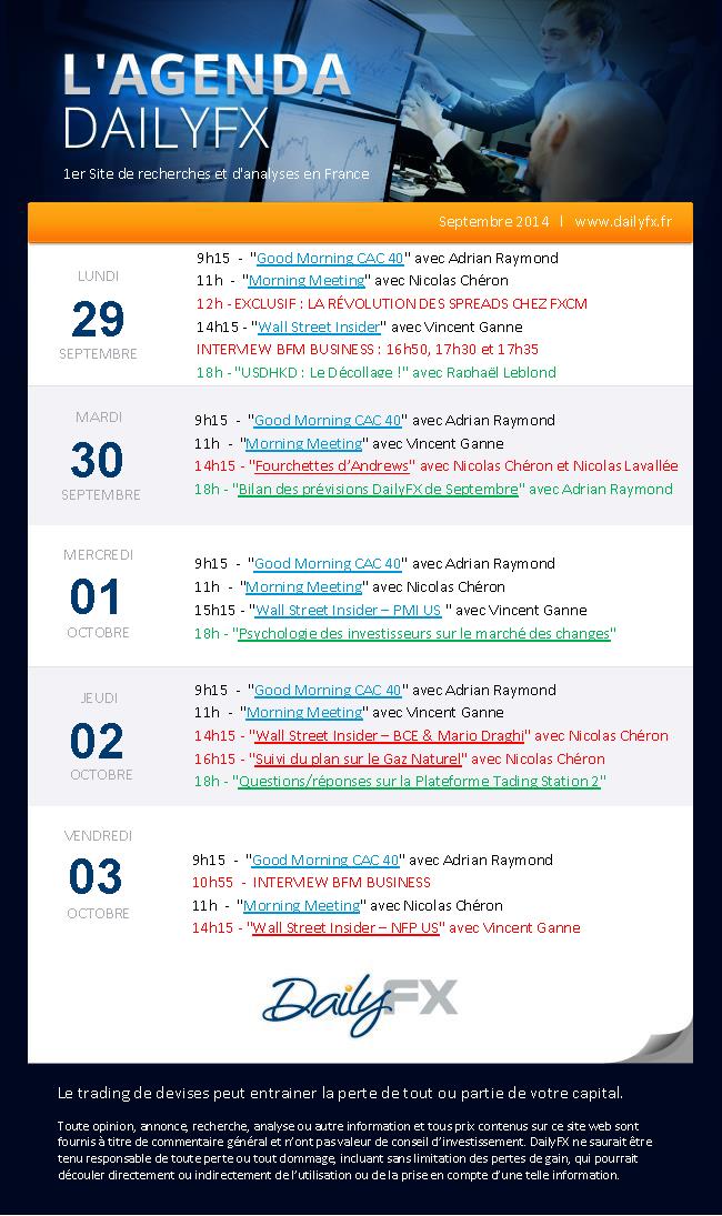 Agenda des webinaires DailyFX du 29 septembre au 03 octobre