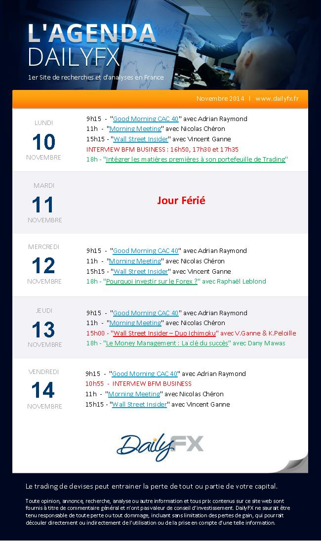 Agenda des webinaires DailyFX du 10 au 14 novembre