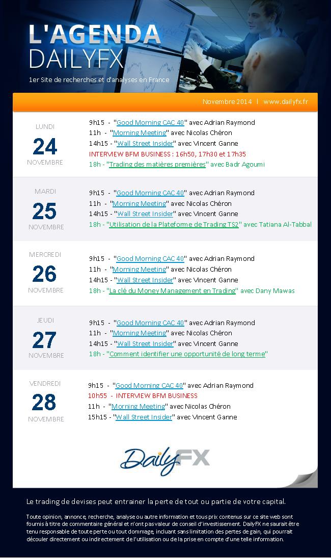 Agenda des webinaires DailyFX du 24 au 28 novembre